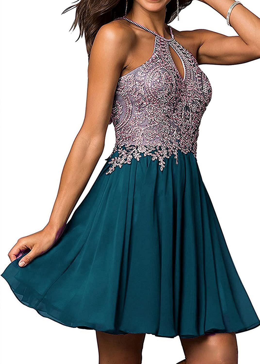 Dannifore Lace Applique Homecoming Dresses Long Prom Bridesmaid Party Gown