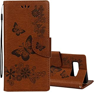 Protective Case Compatible with Samsung Compatible Samsung Galaxy Note 8 Pressed Flowers Butterfly Pattern Horizontal Flip Leather Case with Holder Card Slots Wallet Lanyard Phone case