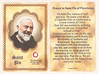padre pio prayer card with relic