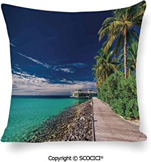 SCOCICI Decorative Throw Pillow A Wooden Boardwalk at The Beach Under Pa Set Cushion Cases Pillowcases for Sofa Bedroom Car 18 x 18 Inch 45 x 45 cm