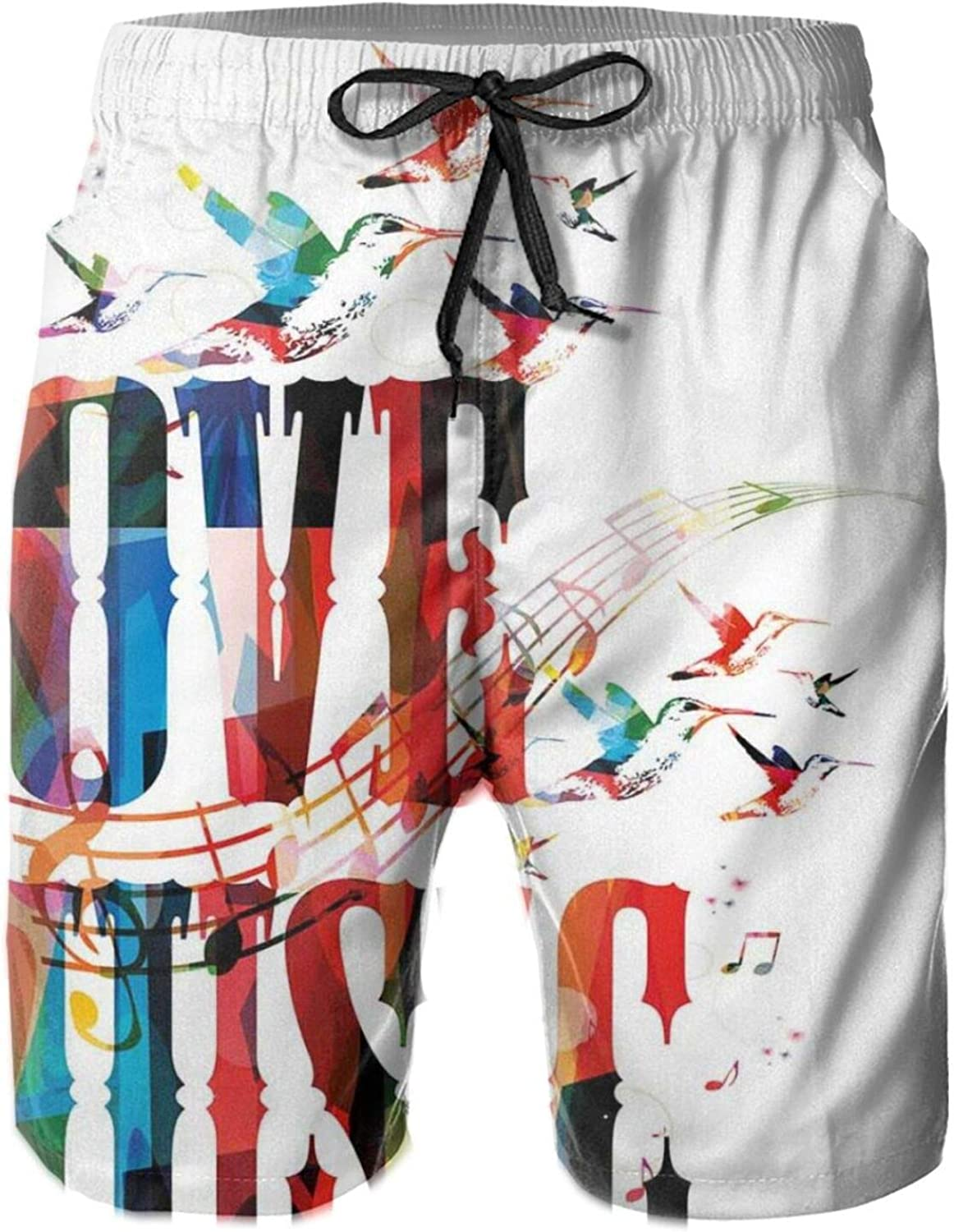 I Love Music Phrase in Grunge Effects and Birds Flying Soul Freedom Illustration Mens Swim Trucks Shorts with Mesh Lining,M