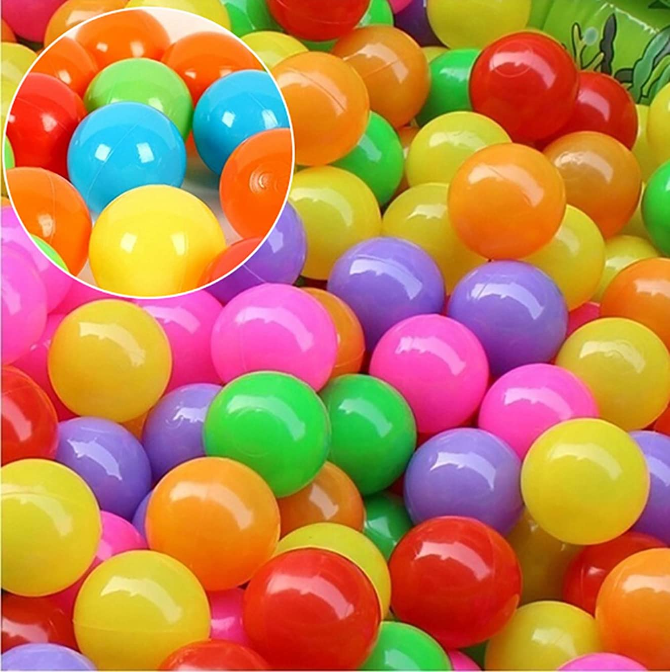 ink2055 50 Pcs Baby Colorful Soft Plastic Water Pool Ocean Wave Ball Outdoor Funny Toys - 4 cm