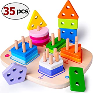 rolimate Wooden Educational Toys for 1 2 3 4 Year Old Boys Girls Toddler Toys Shape Color Geometric Board Block Sorting &Stacking Toys Parent-Child Interaction Toys Blocks for 1 Year Old