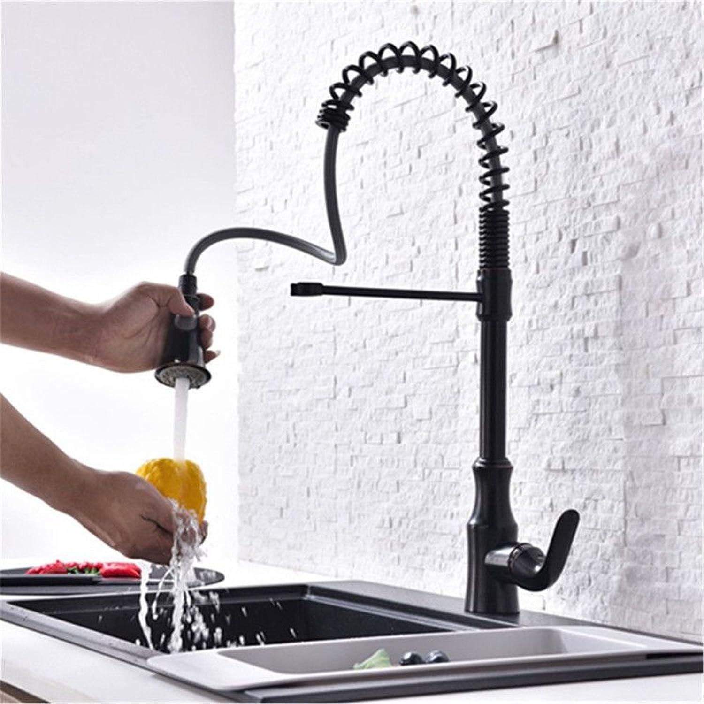 AQMMi Waschtischarmatur Wasserhahn Bad Mischbatterie Messing Schwarz Pull-Out-Feder Messing Badezimmer Mischbatterie
