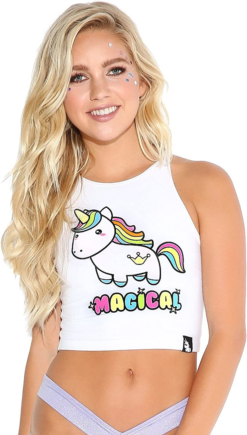 IHeartRaves Women's Magical Unicorn Solar Reactive Fitted Summer Crop Tank Top