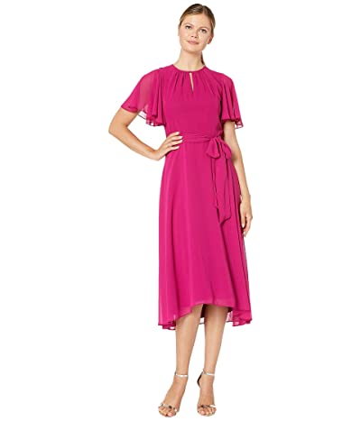 Tahari by ASL Solid Chiffon Midi Dress w/ Flutter Sleeve and Self Side Tie (Fuchsia) Women