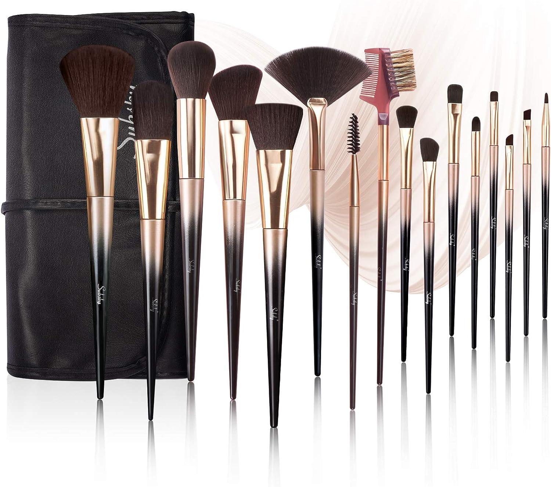 Brochas de maquillaje professional Subsky de 16 pcs, que incluye brocha para base, brocha para rubor, brocha correctora, brocha para sombra de ojos, juego de brochas de maquillaje