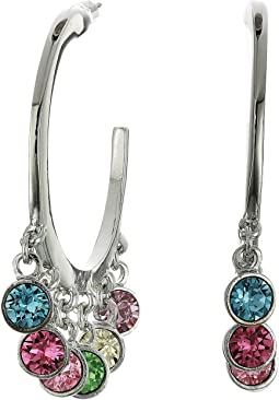 Silver with Multi Pastel Drops Pierced Hoop Earrings