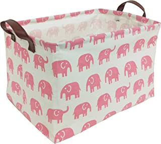 HIYAGON Rectangular Storage Box Basket for Baby, Kids or Pets - Fabric Collapsible Storage Bin for Organizing Toys,Nursery Basket,Clothing,Books, Gift Baskets (Pink Elephant)