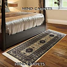 Hind Carpets Traditional Persian Kashmiri Design Silk Bed Side and Gallery Carpet (2 x 6 ft/60 X 180 cm, Ivory)
