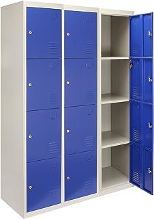 MonsterShop Casier de rangement en métal 3 x 4 portes Bleu et gris acier verrouillable Unité de change