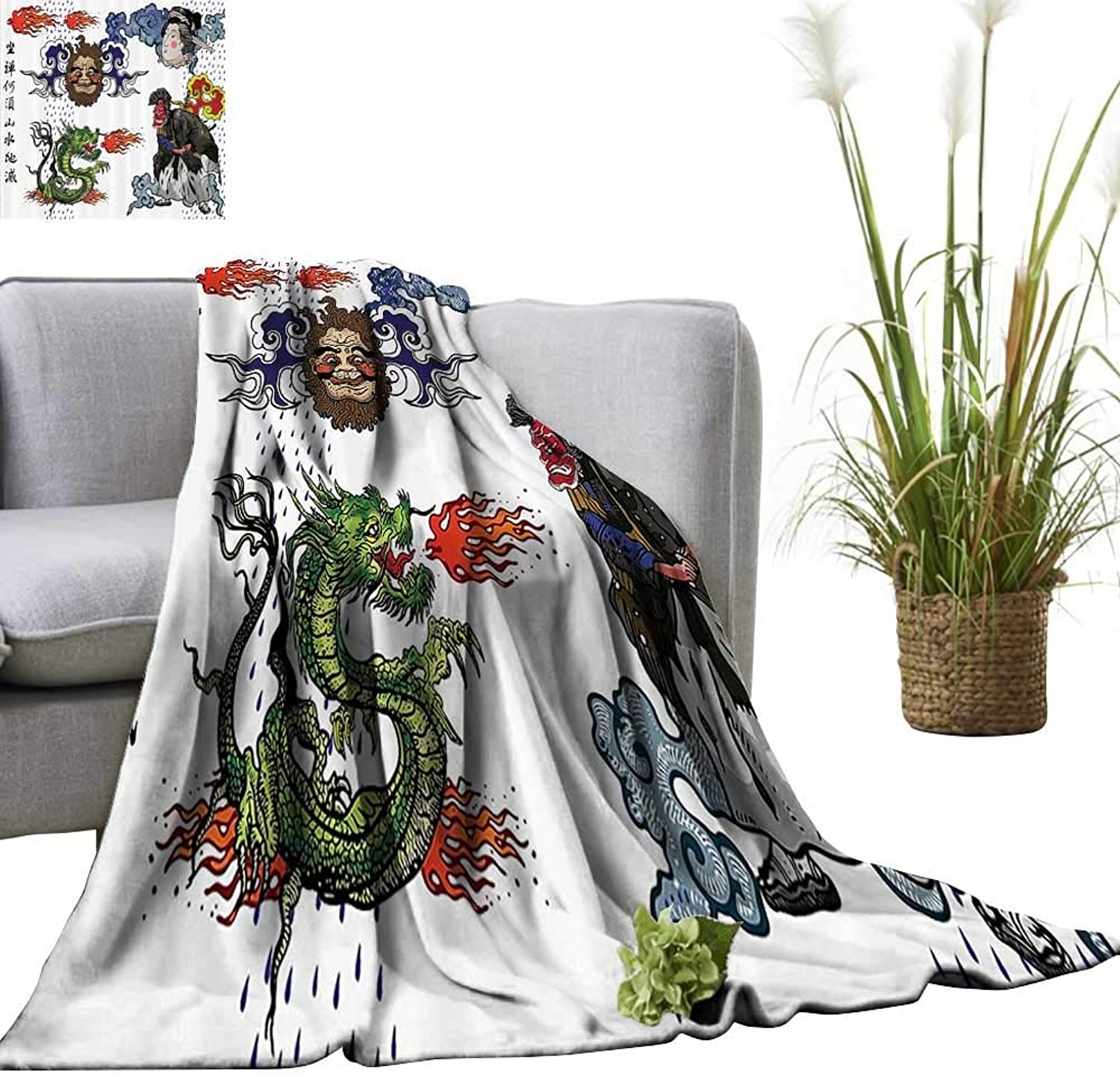 YOYI Digital Printing Blanket eJapanese Manga Figures Drag with Fire Man with Kimo Geisha Tribal Characters Better Deeper Sleep 50 x70