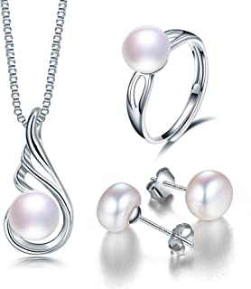 Deluxe Jewelry Set for Women by Diamovi – 100% Natural Freshwater Pearl Necklace, Earrings & Ring – 925 Sterling Silver W/...