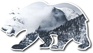 Snowy Half Dome Yosemite Valley Cali Bear Vinyl STICKER for laptop journal or wall