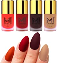 MI Fashion Nail Paints for Women Orange, Tomato Red, Wine, Nude Unique Matte Nail Polish Sets of 4 Pcs 9.9ml each