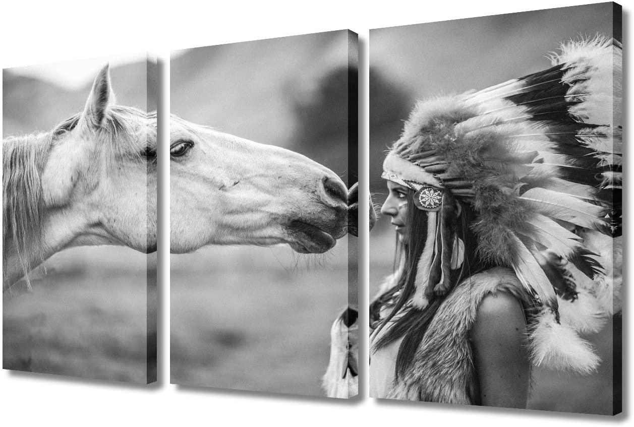 Indian Wall Max 78% OFF Omaha Mall Art Native American Woman White Horse Canva at Looks