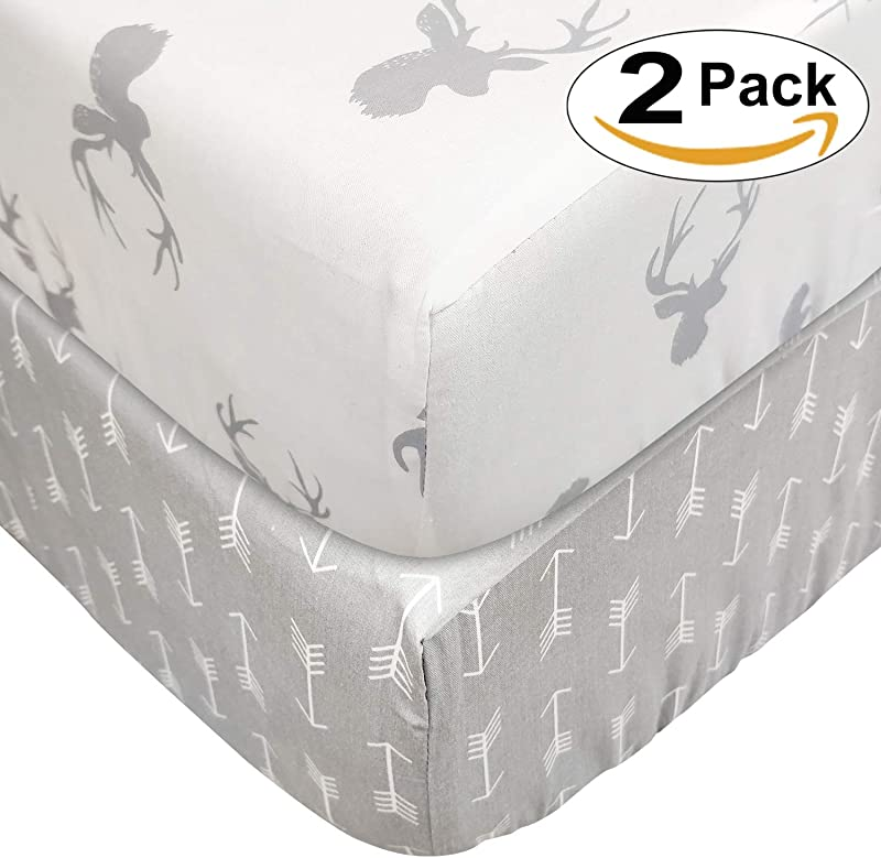 Brandream Crib Sheets For Boys Girls Fitted Cotton Baby Crib Sheet Sets 2 Packs Deer Head Arrow Printed White Gray