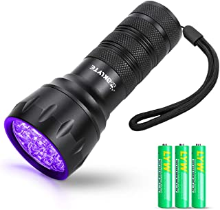 Waklyte Black Light, Mini UV Flashlight, 21 LED 395 nm Ultraviolet Blacklight Detector for Dog Urine, Pet Stains and Bed B...