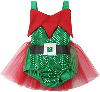 Babys Girls Elf Xmas Outfits Infant Toddlers Reindeer Christmas Tutu Romper Jumpsuit