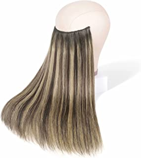 Maxfull Brown Balayage Halo Clip in Hair Extensions Human Hair with Blonde Highlights, Crown Hair Extensions Real Remy Hum...