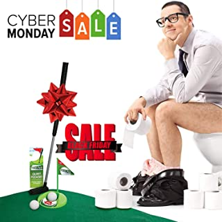 Mini Golf Set Toilet Game - Indoor Golf Practice Putting as Potty Putter Bathroom Games Perfect Gag Gifts for Men and Women - Funny Novelty Toy