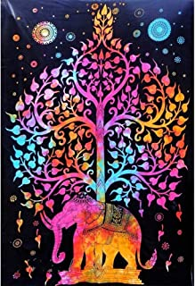 Colorful Tree Tapestry Wall Hanging Psychedelic Forest with elephant Wall Tapestry Bohemian Mandala Hippie Tapestry for Bedroom Living Room Dorm tapestry (Multi , Twin ( 54X85 inches approx))