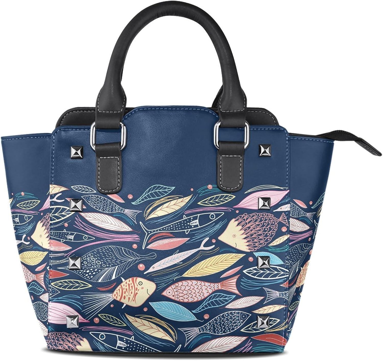My Little Nest Women's Top Handle Satchel Handbag Cartoon Various Fishes Ladies PU Leather Shoulder Bag Crossbody Bag