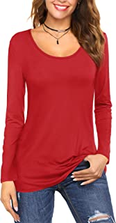 Amoretu Womens Scoop Neck Short/Long Sleeve Tee Tops Cotton T-Shirts Blouses