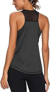 Aeuui Workout Tank Tops for Women Sleeveless Racerback Mesh Yoga Shirts Athletic Sports Running Tops
