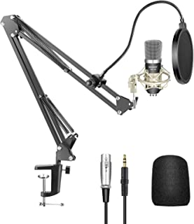 Neewer Condenser Microphone Kit - NW-700 Mic(Black), NW-35 Suspension Boom Scissor Arm Stand with Mount Clamp, Shock Mount...