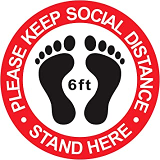2 x Social Distancing Floor Stickers sign 150mm diameter 6 Colours laminate