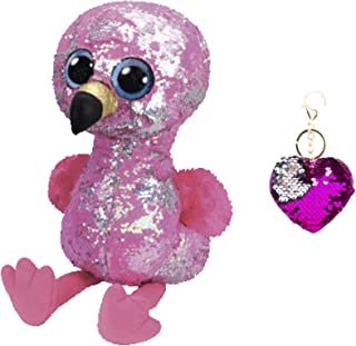 """TY Flippables Reverse Sequin Stuffed Animal Beanie Boo Plush Toy Large Size (16"""") - Limited Availability - with One Keychain (Pinky The Flamingo)"""