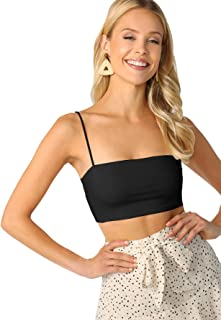 Women's Basic Plain Spaghetti Strap Tube Crop Cami Top