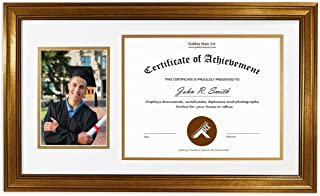 Golden State Art, 11x19.5 Frame for 8.5x11 Diploma/Certificate & 5x7 Picture, Dark Gold Color. Includes White Over Gold Double Mat and Real Glass