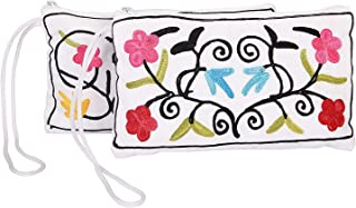 Handmade Embroidered Kashmiri Antique Clutch Wristlet Indian Made Purse Organza Bag Wedding Gift Pouch (Set of two)