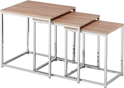 Mit Mesa metálica con tapa corredera estilo nórdico, para salón ...