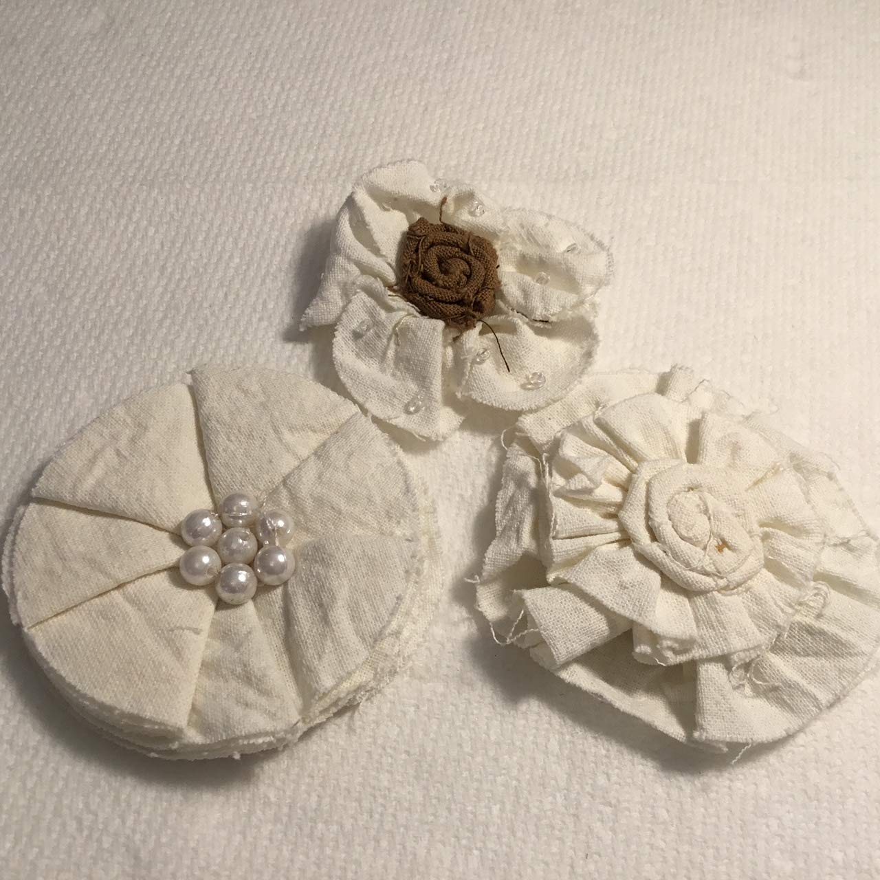 Embellished 35% Philadelphia Mall OFF Fabric Flowers 3 per Pkg-White