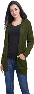 Women Vintage Cable Knitted Button Long Sleeves Coat Sweater Cardigan