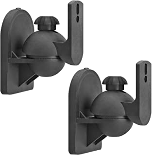 Cmple - Universal Satellite Speaker Mount - Swivel & Tilt Speaker Wall Mount Brackets up to 7.7lbs with Adjustable Angle Rotation for Surround Sound System - 1 Pair (Black)