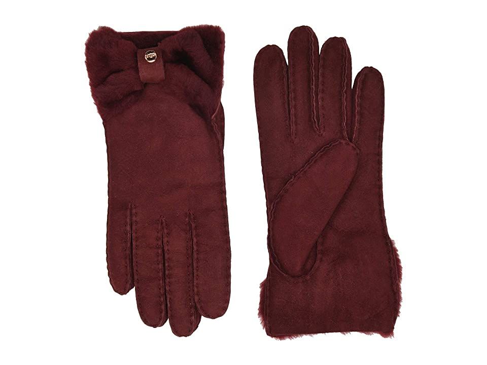 UGG Bow Shorty Water Resistant Sheepskin Gloves (Port) Extreme Cold Weather Gloves