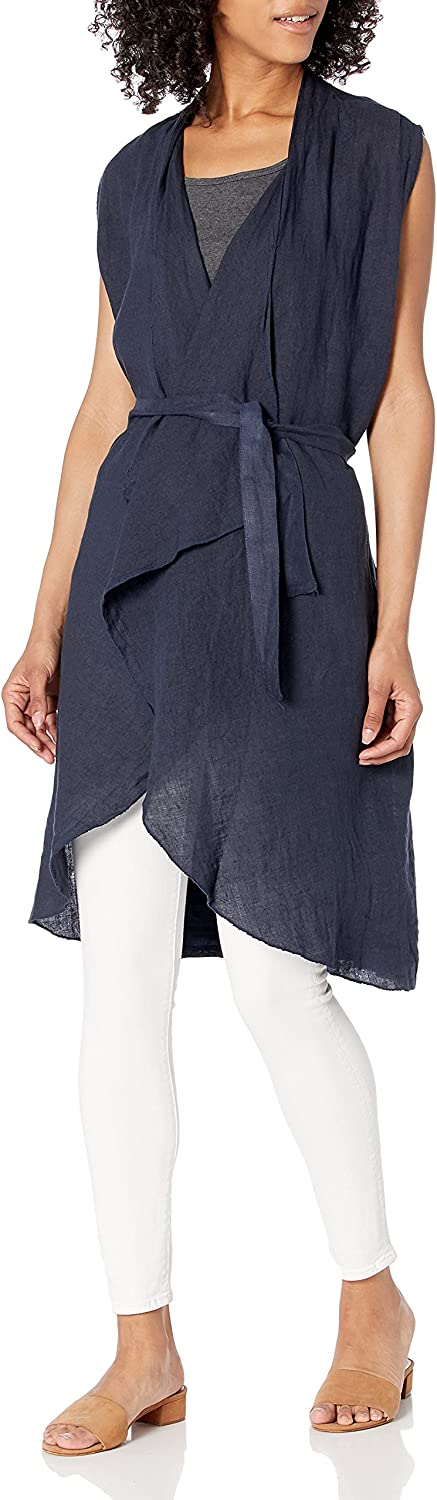 M Made in Italy Women's Drape-Front Open Vest Cardigan with Belt