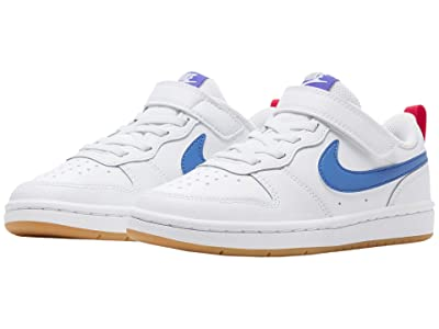 Nike Kids Court Borough Low 2 (Little Kid) (White/Pacific Blue/University Red) Boys Shoes