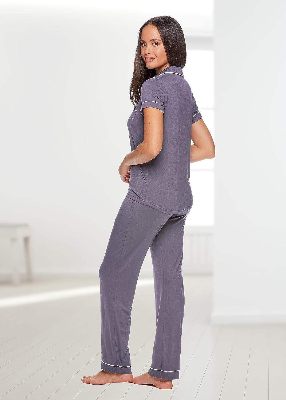 bebe Womens Button Down Short Sleeve Shirt and Pajama Pants Lounge Sleep Set