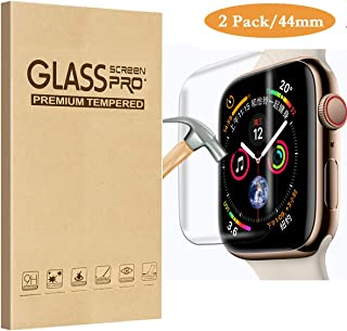 [2 Pack] Fotbor Compatible for Apple Watch 44mm Series 4 Tempered Glass Screen Protector, [Full Coverage] [Full Glue] 9H Hardness Anti-Scratch HD Clear Anti-Bubble for iWatch 44mm Screen Protector