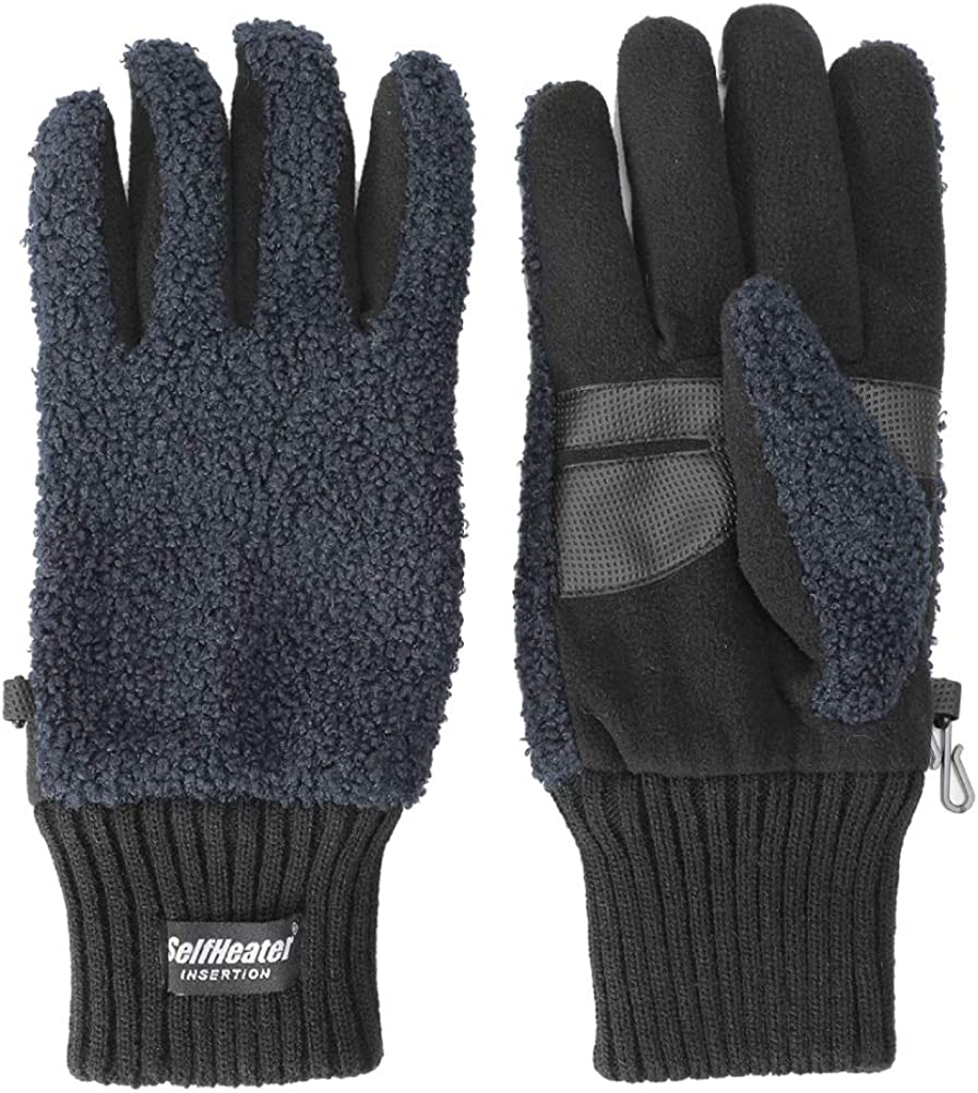 Junior Boy's Winter Gloves Outdoor Warm Freece Lining Knit Thick Mittens for Cold Weather