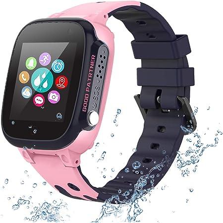 PTHTECHUS Reloj Inteligente para Niños a Prueba de Agua IP67, Teléfono Smartwatch LBS localizador SOS Alarma por Chat de Voz Cámara, Regalo para Niño Niña Reloj Digital de Pulsera, Rose