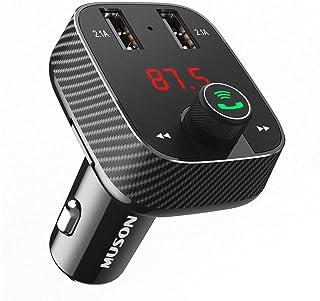 MUSON(ムソン) FMトランスミッター Bluetooth 4.2/microSDカード/AUX-IN対応 高音質 音楽再生 ハンズフリー通話 FM周波数調整可能 二つUSB充電ポート(5V/2.1A) バッテリー電圧チェック機能 12V/24V車種対応 日本語説明書付属 [メーカー直販/1年保証付] Link1 (ブラック)