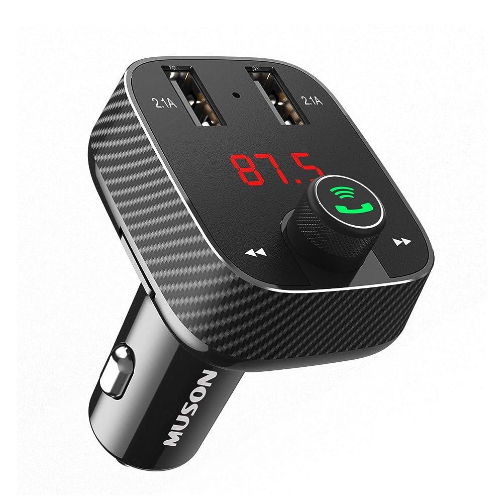 真っ逆さま連合思い出すMUSON(ムソン) FMトランスミッター Bluetooth 4.2/microSDカード/AUX-IN対応 高音質 音楽再生 ハンズフリー通話 FM周波数調整可能 二つUSB充電ポート(5V/2.1A) バッテリー電圧チェック機能 12V/24V車種対応 日本語説明書付属 [メーカー直販/1年保証付] Link1 ブラック