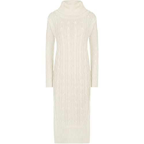 6a1f744f40c WearAll Women s Womens Polo Cowl Neck Cable Knit Long Sleeve Midi Maxi  Jumper Ladies Dress 10