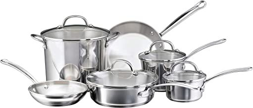 Farberware 75653 Millennium Stainless Steel Cookware Pots and Pans Set, 10 Piece